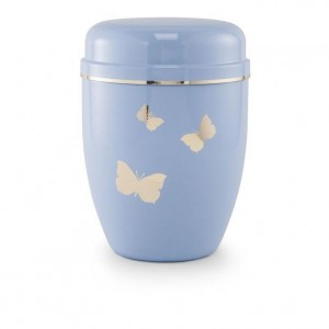 Infant / Child / Boy / Girl Cremation Ashes Funeral Urn (Pastel Blue with Butterflies Motif)